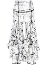Brock Collection Checked Ruffled Tweed Trousers White