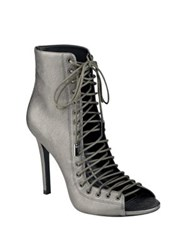 Kendall Kylie Ginny Metallic Leather Lace Up Booties Pewter