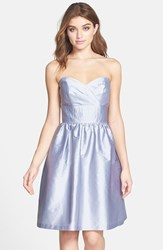 Women's Alfred Sung Strapless Satin Fit And Flare Dress French Grey