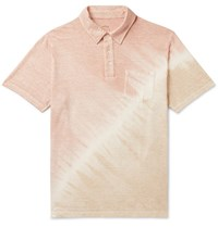 Altea Tie Dyed Stretch Linen Polo Shirt Pink