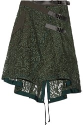 Sacai Twill And Leather Trimmed Guipure Lace Wrap Skirt Army Green