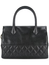 Chanel Vintage Diamond Quilt Detail Tote Black