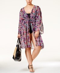 Jessica Simpson Plus Size It Girl Tie Front Printed Chiffon Kimono Cover Up Women's Swimsuit Black Multi