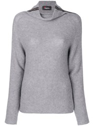 Jo No Fui Roll Neck Stripe Sweater Polyester Cashmere Wool M Grey