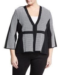 Ming Wang V Neck Grid Print Jacket Black White
