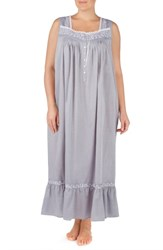 Eileen West Plus Size Chambray Cotton Nightgown Charcoal Chambray