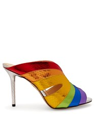 Charlotte Olympia Judy Snakeskin Effect Leather Mules Silver Multi