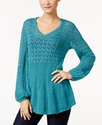 Styleandco. Style Co. Pointelle Bishop Sleeve Sweater Only At Macy's Teal Haze