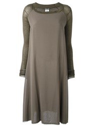 Kristensen Du Nord Paneled Flared T Shirt Dress Green