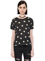 Saint Laurent Daisy Printed Cotton Jersey T Shirt