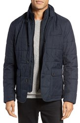 Ted Baker Men's London Jasper Trim Fit Quilted Jacket With Removable Bib Navy