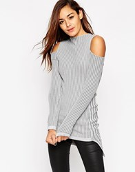 Asos Knitted Tunic With Cold Shoulder Grey