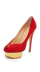 Charlotte Olympia Suede Daphne Pumps Red