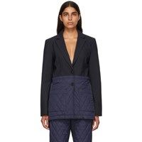 Tibi Navy And Black Oversized Quilted Combo Blazer