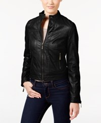 Joujou Jou Jou Juniors' Zipper Front Faux Leather Jacket Black