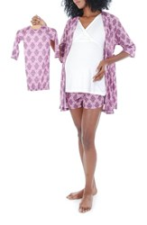 Women's Everly Grey 'Daphne During And After' 5 Piece Maternity Sleepwear Set