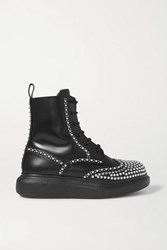 Alexander Mcqueen Studded Leather Exaggerated Sole Ankle Boots Black