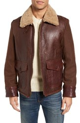 Schott Nyc Men's Mixed Media Flight Jacket With Genuine Shearling Collar And Lining
