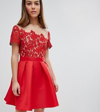 Little Mistress Petite Lace Top Mini Prom Dress Red