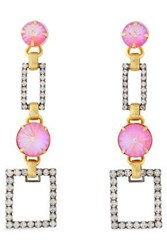 Elizabeth Cole Woman Linnette 24 Karat Gold And Hematite Plated Crystal Earrings Pink