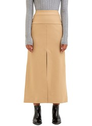 Acne Studios Pascal Long Wool Skirt Beige