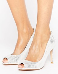 Dune Peep Toe High Heel Court Shoe Silver Metallic