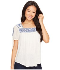 Lucky Brand Embroidered Top Eggshell Women's Blouse Beige
