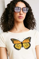Urban Outfitters Sheila Slim Cat Eye Sunglasses Brown