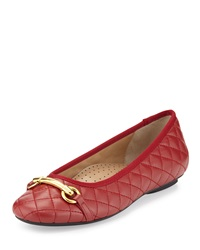 Neiman Marcus Suzy Quilted Nappa Ballet Flat Red