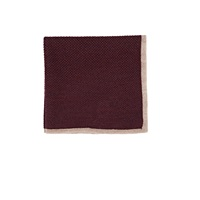 Isaia Contrast Border Pocket Square Wine
