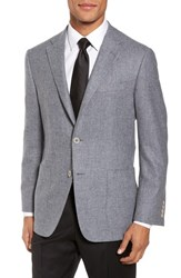 Hickey Freeman Men's Classic Fit Wool And Cashmere Blazer Light Grey Solid