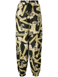 Versace Jeans Trousers With Greek Motif Prints Black