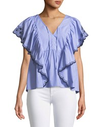 Kate Spade Daisy Embroidered Flounce Top Blue