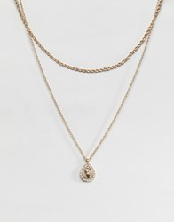 Asos Design Multirow Necklace With Crystal Teardrop Vintage Style Icon Pendant In Gold