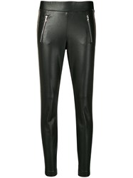 Cambio Faux Leather Skinny Trousers Black