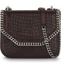 Stella Mccartney Faux Croc Shoulder Bag Burgundy