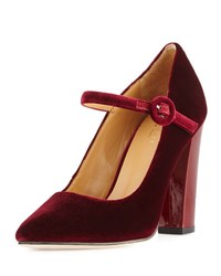 Cecelia New York Jenny Velvet Mary Jane Pump Burgundy