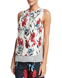 Thakoon Layered Floral Print Sleeveless Top Pink