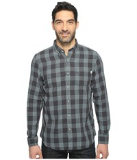 Timberland Sugar River Open Weave Plaid Shirt Stone Blue Yarn Dye Men's Long Sleeve Button Up Black