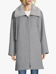 Betty Barclay Faux Fur Collar Coat Light Grey Melange