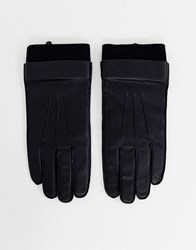 Weekday End Leather Gloves In Black