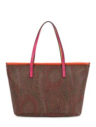 Etro Paisley Printed Faux Leather Tote Bag Multicolor