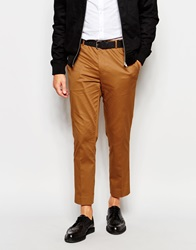 Asos Skinny Fit Smart Cropped Trousers In Cotton Sateen Mustard