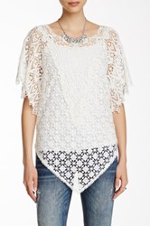 Johnny Was Sheer Lace Tee White