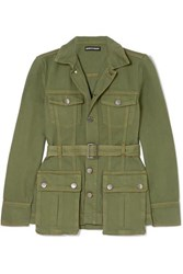 House Of Holland Belted Denim Jacket Army Green