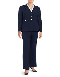 Tahari By Arthur S. Levine Plus Solid Jacket And Pants Suit Navy