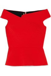 Roland Mouret Elmswell Off The Shoulder Crepe Top Red