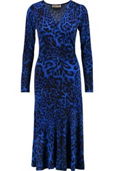 Michael Michael Kors Leopard Print Stretch Jersey Midi Dress Royal Blue