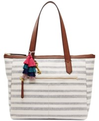 Fossil Fiona Extra Large Tote Navy Stripe