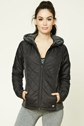 Forever 21 Active Hooded Quilted Jacket Heather Grey Black